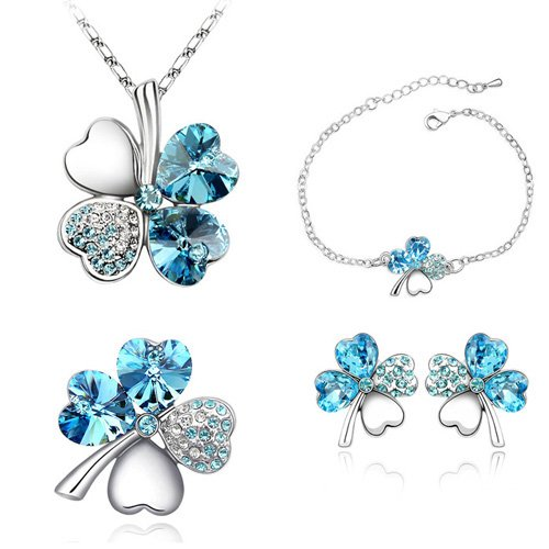 Real Austrian Crystals From Swarovski 18K Gold Plated Necklace Earrings bracelets Brooch jewelry set for women Clover Seablue(China (Mainland))