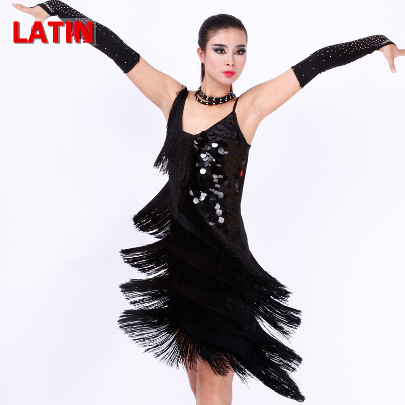 limited offer 4 colors Latin dance dress for competition women bule/white sequins tassel tango/rumba/samba dance cotumes(China (Mainland))