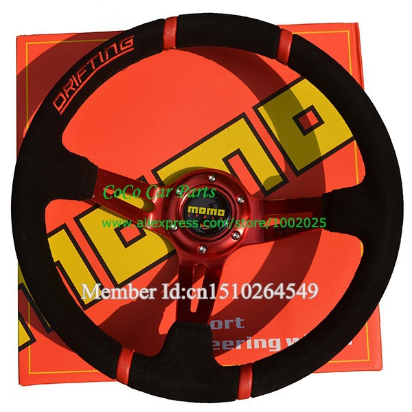 Momo Red Suede Steering Wheel Suede Sport Steering Wheel