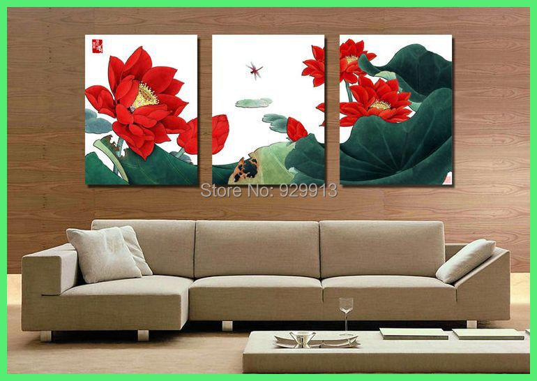 Framed 3 Panel Large Red Lotus Flower Oil Painting Chinese Wall Art Dragonfly Canvas Picture