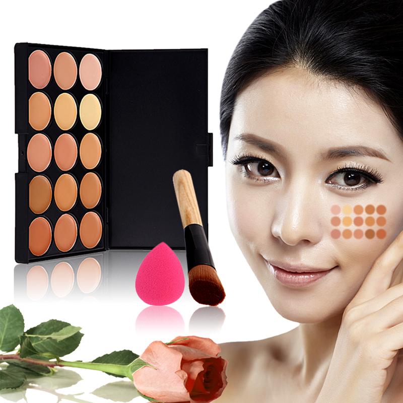 15 Color Concealer Palette + Power Brush + Sponge Puff Makeup Contour Palette Paleta De Corretivo Facial 89960 hv5n(China (Mainland))