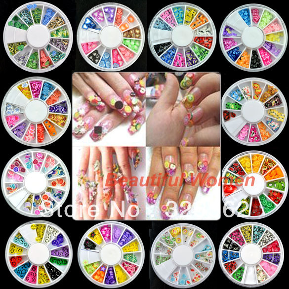 10set/lot 12 Wheel Nail Art Decoration Nail Sticker DIY 3D Tip Polymer Clay 2789<br><br>Aliexpress