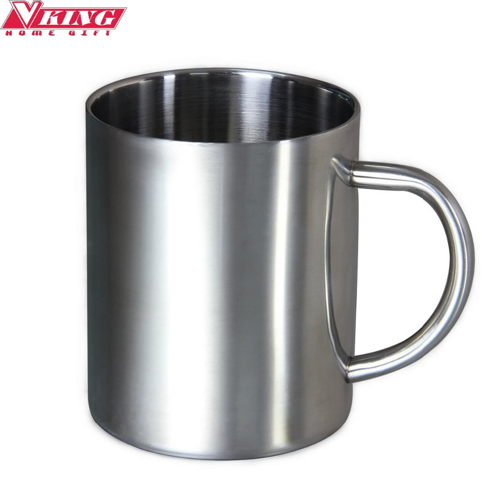 V-KING 220ml Stainless Steel Coffee Mug Beer Cup Tumbler Camping Mug Cappuccino Cups Double Wall Drinkware Free shipping(China (Mainland))