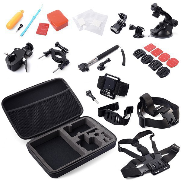 Gopro Accessories Set Kit Head Wrist Chest Strap Helmet Belt Mount Monopod