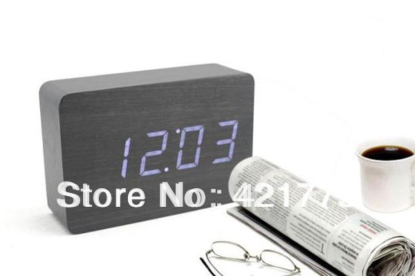 Retângulo de madeira relógio Digital LED azul vermelho relógios de mesa mesa