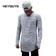 HEYGUYS 2017 extend hip hop street T-shirt wholesale fashion brand t shirts men summer long sleeve oversize design hold hand(China (Mainland))