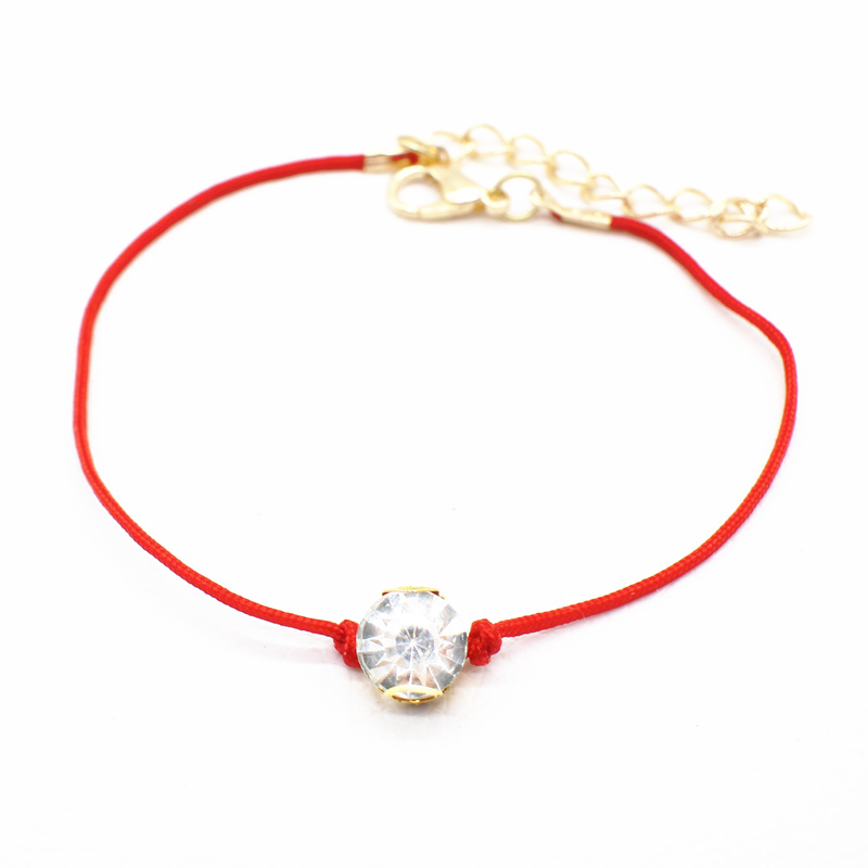 2017 simple Red Thread string Bracelet bangle Jewelry for women setting Crystal Zircon thin Bauble rope lucky Lobster Charm(China (Mainland))