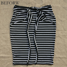 BEFORW Brand Skirts Womens Fashion High Waist Stripe Lacing Skirt Plus Size White And Black Sexy Bodycon Long Skirt For Women(China (Mainland))