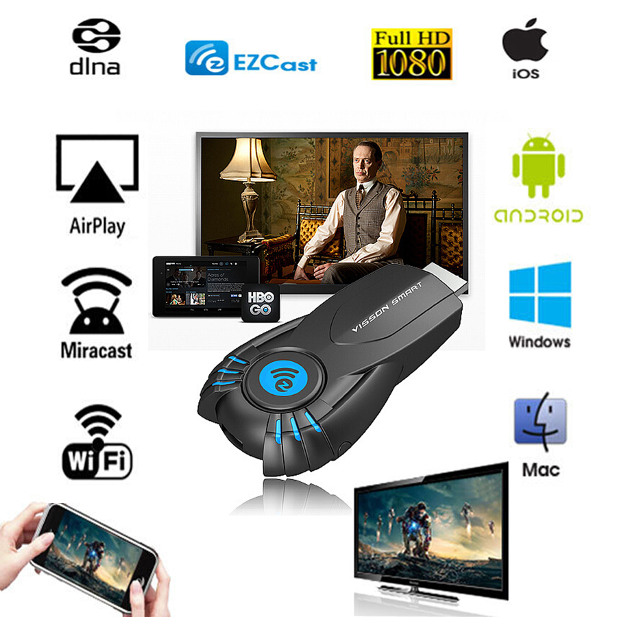 Vensmile V5ii TV Stick Ezcast DLNA Miracast Airpaly TV Dongle for iphone 5 6 Android Smart Phone Better than Chromecast MK808(China (Mainland))