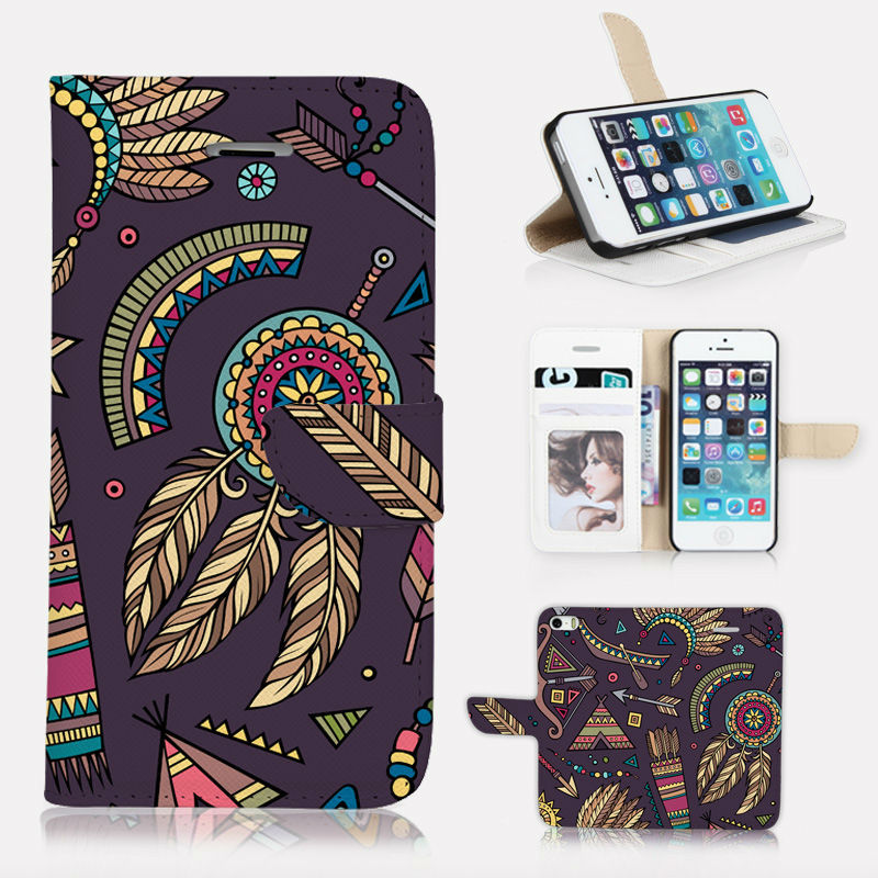 BTD P001-5G 3D printing case For iphone 5 5s 5g phone case wallet photo Tribal and Dream Catcher leather screen flim(China (Mainland))