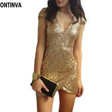 Sexy Sequin Dress Women Clearance Party Dresses Black Gold Vestidos De Fiesta Deep V Neck Bodycon Clubwear Novelty Woman Clothes(China (Mainland))