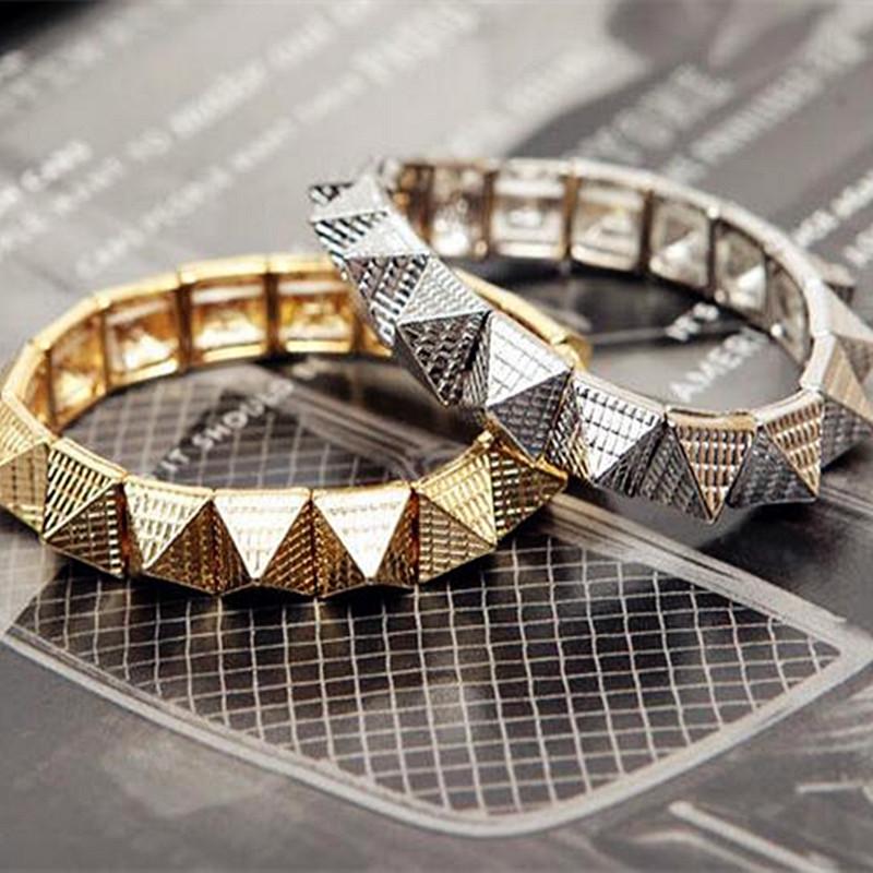 Vintage Pyramid Rivet Stretch Bracelets For Women Sliver Plated Punk Alloy Studs Wrap Bracelets & Bangles Fashion Accessories(China (Mainland))