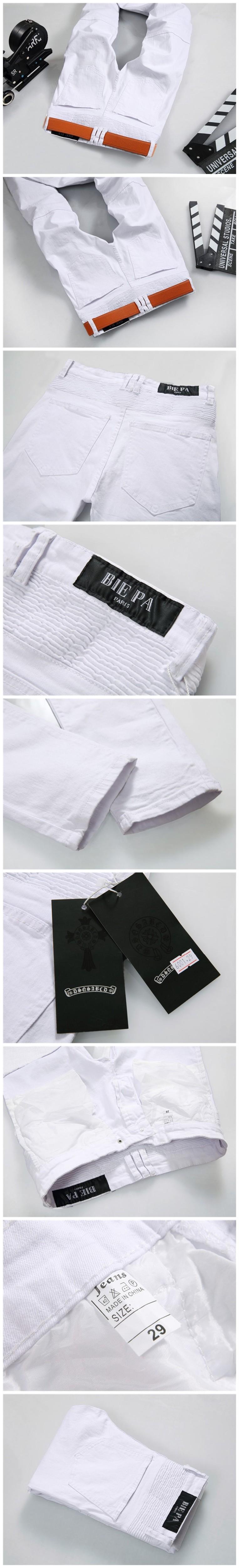 Скидки на Горячая распродажа белые джинсы мужчины высокое качество байкер джинсы 2016 новый конструктор мода джинсовые комбинезоны марка одежда Slim Fit свободного покроя брюки