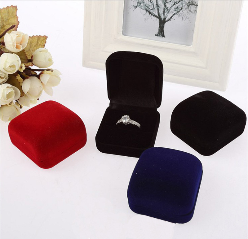New Design Charming Square Velvet Ring Box Jewelry Boxes Organizers Black/Blue/Red Gift Box Ring Necklace Earrings Jewelry Box(China (Mainland))