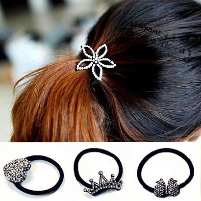 Black Charms Shiny Rhinestone Flower Heart Bow Crown Hair Bands Designer Girl Hairclip Jewelry Accessories A1R22C