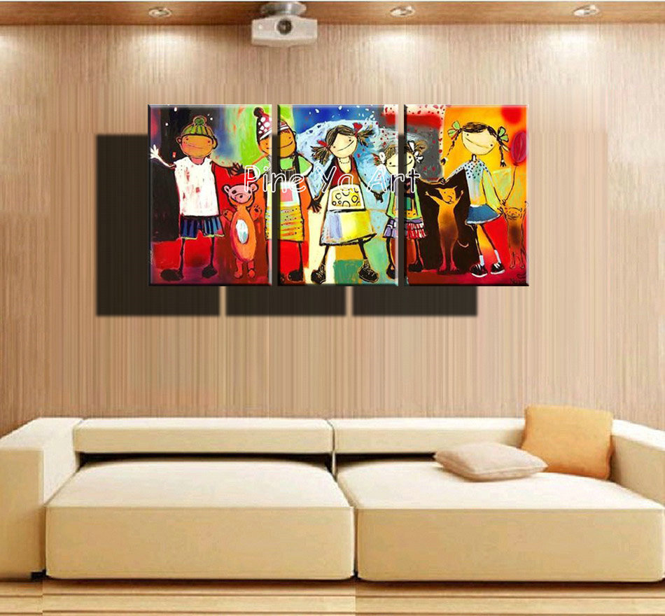 3 panel abstract handmade decorative canvas wall art kids for Kids room wall decor