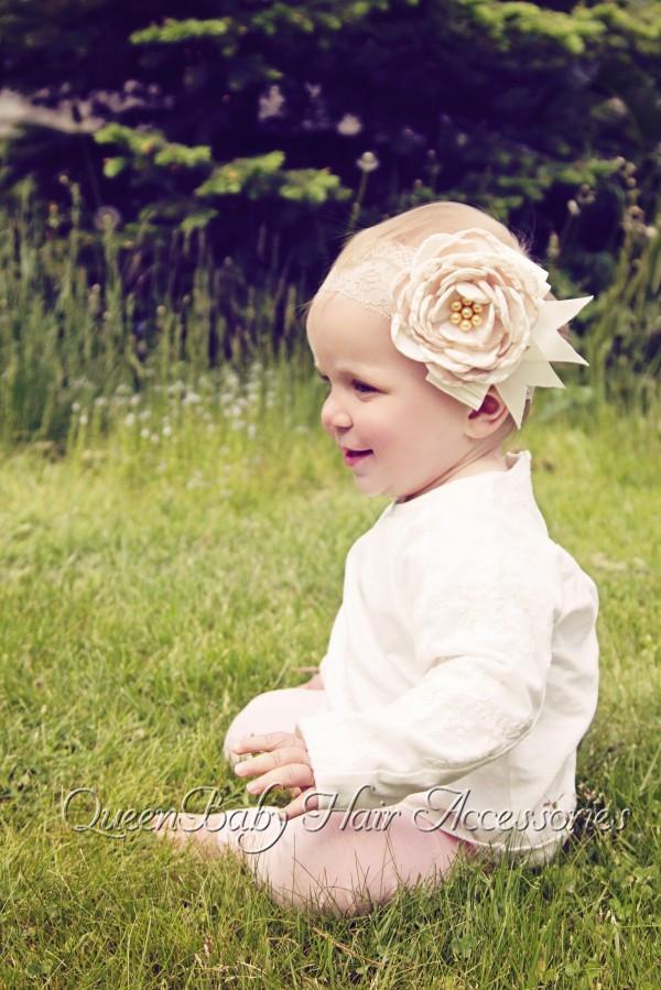 Satin Flower Matching Sparking Pearls Headband Lace Vintage girl Headband Girl Couture Headband(China (Mainland))