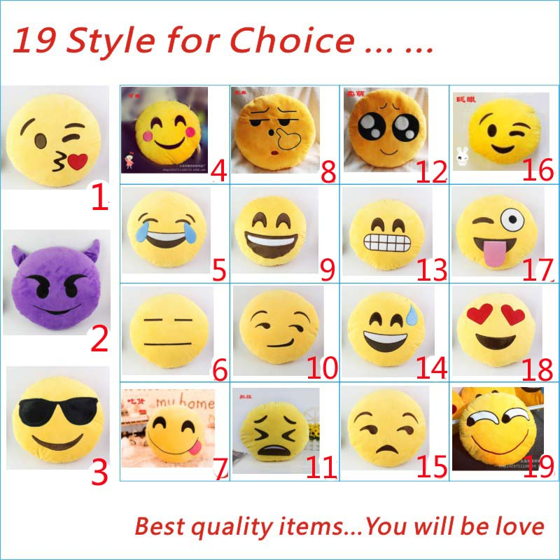 Fashion 19 Style Soft Yellow Smiley QQ Expression PP Cotton Round Emoji car Cushion Pillow 30*30cm For Home Decoration(China (Mainland))
