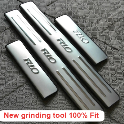 Stainless steel scuff plate door sill 4pcs/set car accessories KIA RIO k2 sedan hatchback 2010 2011 2012 2013 2014 - NEX store
