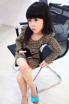 Bear Leader  1pcs baby girl clothing taste leopard print ruffle hem one-piece dress Children clothes Clothing