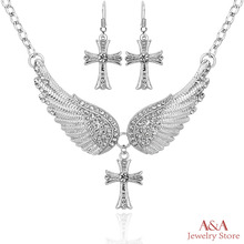 Brightly Hot Sales Statement Choker Necklace Angel Wings Cross Pendants Necklaces for Women Gifts(China (Mainland))