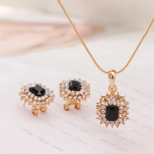 2016 Jewelry Set Top Quality 18k Gold Plated Necklace Stud Earrings Sets Wedding Party Gift Bridal Black African Jewelry Sets(China (Mainland))