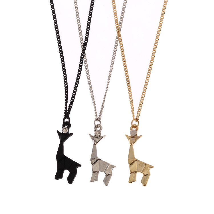 2016New Fashion Giraffe Pendant Necklace Link Chain Metal Paper Folded Flexagon Cute Simple Style best Jewelry(China (Mainland))