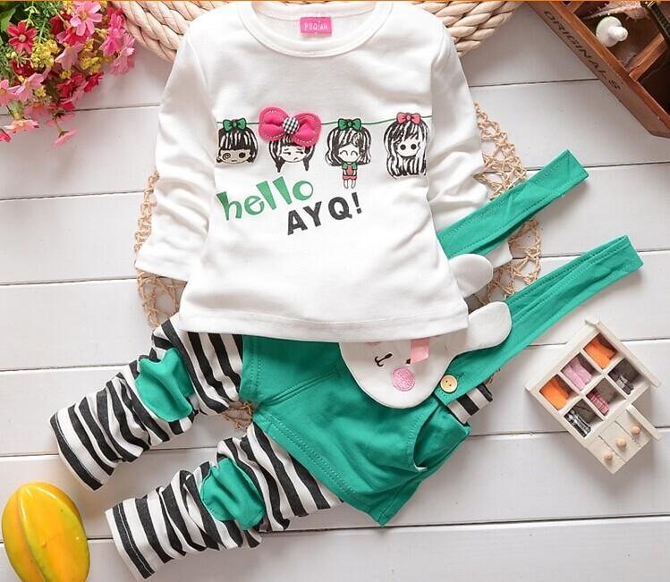 2016 Autumn girls clothes children clothing baby sets long sleeve Suit kids wear 2 pc/set A173 - Helen Children's shop store