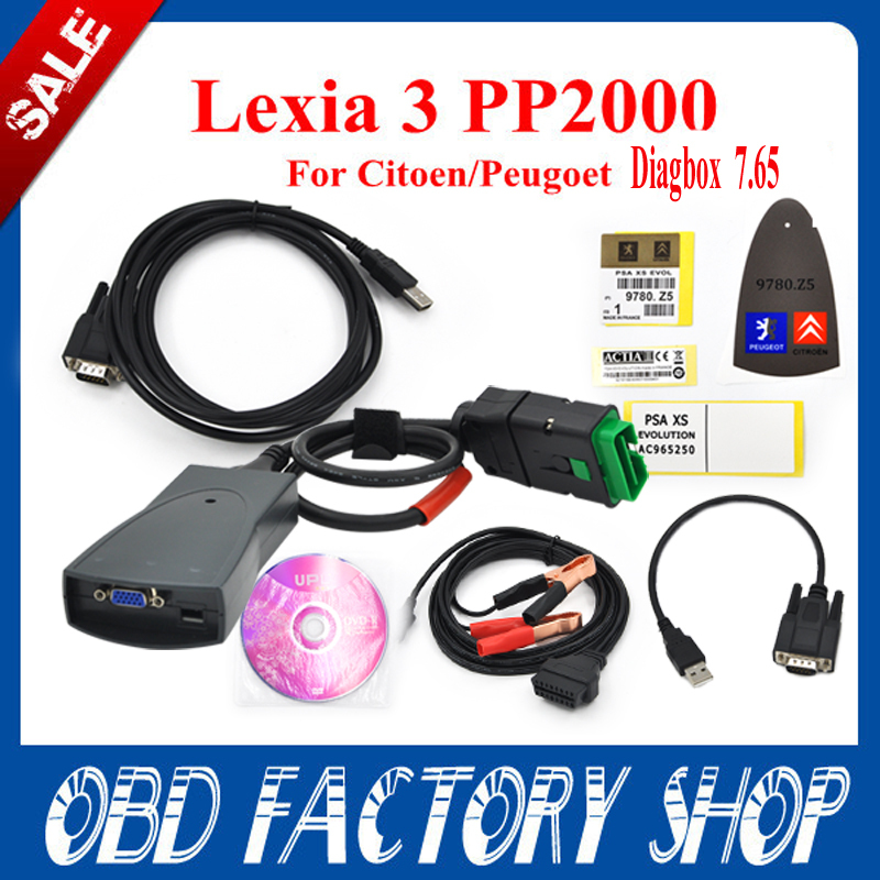 Promotion 2015 Lexia 3 V48diagbox v7.65 PP2000 for Citroen Peugeot  Professional Diagnostic Tool Lexia3 pp2000 with LED light(China (Mainland))