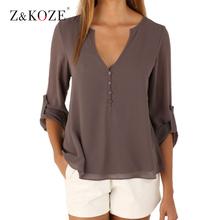 Z&KOZE New Autumn Fashion Women deep v neck button long sleeve ladies tops chiffon shirts solid elegant Top casual blouse