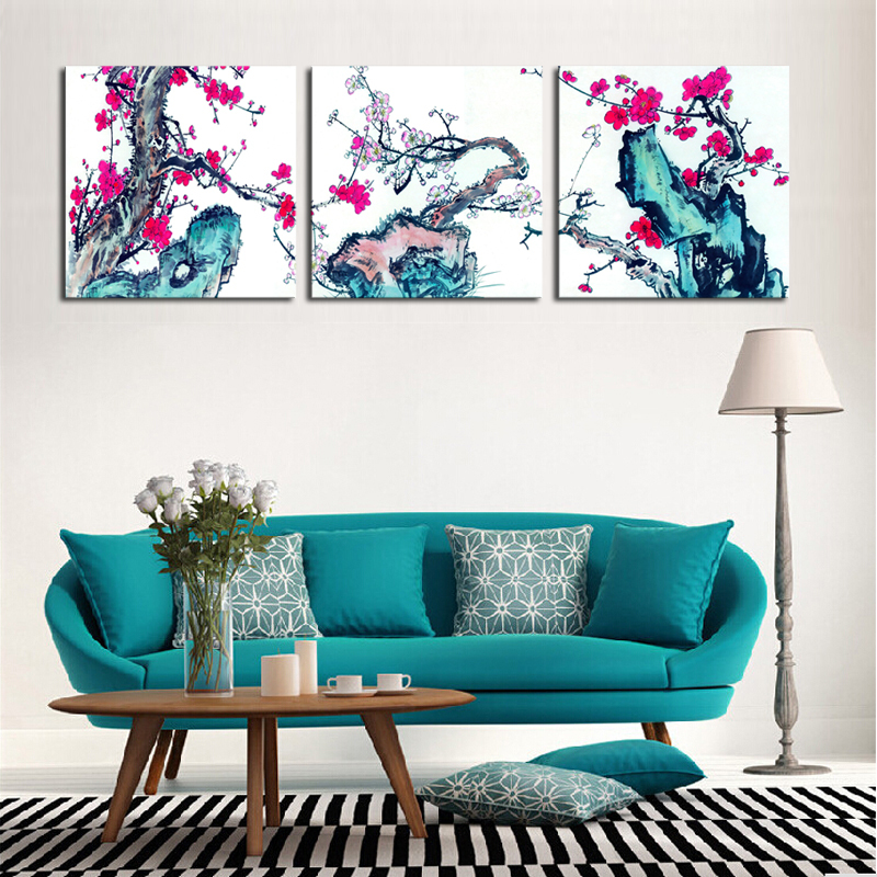 Unframed 3 pieces plum blossom flowers modern home wall for Modern home decor pieces