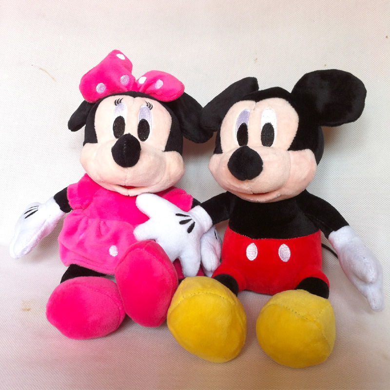 2015 New Hot 30cm 2pcs/lot Lovely Mickey Mouse And Minnie Animal Stuffed girls doll plush toys for children Gift baby toys(China (Mainland))