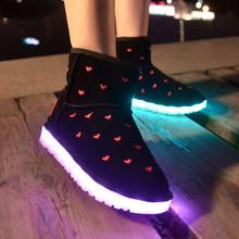 Invierno Nieve Botas Mujer Zapatos Luces Led 2016 Tobillo Plana Fluorescente Luminoso de Carga Usb Lámpara de Cultivo de Algodón de Alta Superior Botas(China (Mainland))