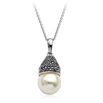 Vintage Simple Heart Crystal Necklace Antique Silver Chain Pendant Necklace Round Pearl Necklace Pendant Women(China (Mainland))