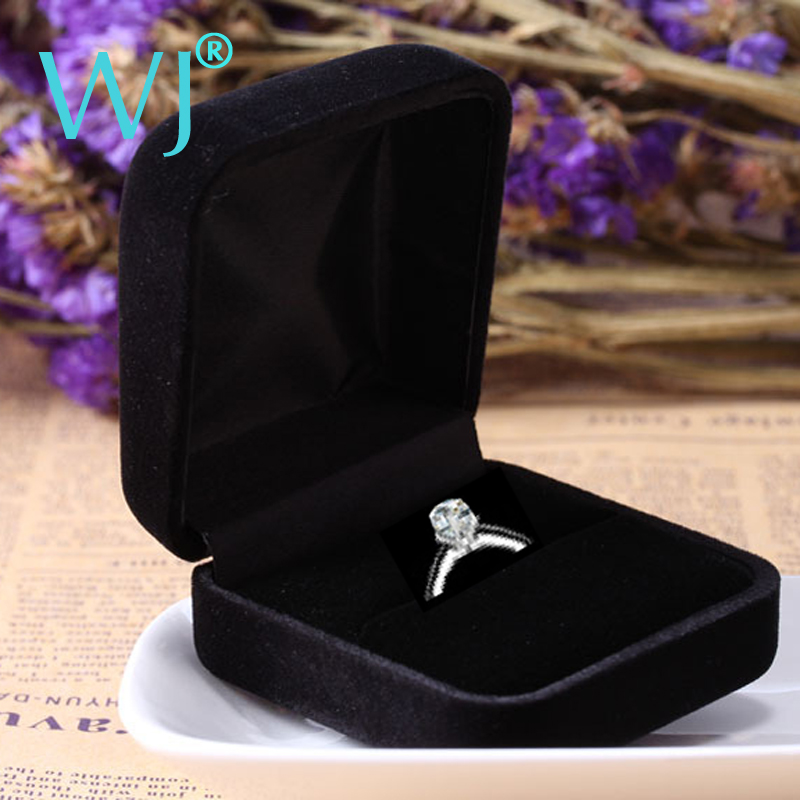 Wholesale Engagement Black Velvet Ring Box Jewelry Display Storage Foldable Case For Wedding Ring Valentine's Day Gift Organizer(China (Mainland))