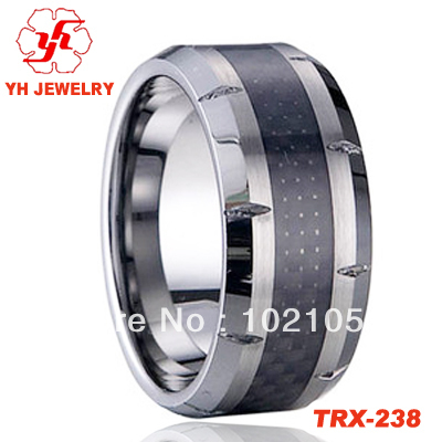 High Polish Bling Black Carbon Fiber 8MM Cool Mens Tungsten Wedding Band Ring Sizes 4 to 13 Free Sgipping(China (Mainland))