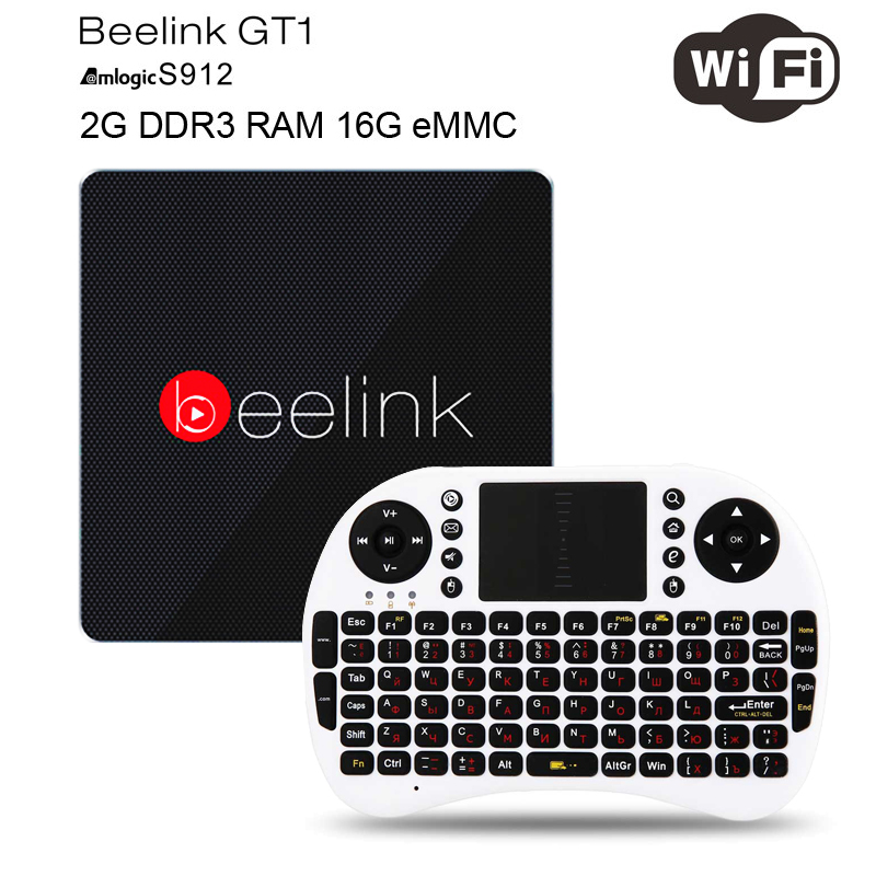 Beelink GT1 Android 6.0 TV Box 2GB RAM 16GB ROM Amlogic S912 Octa Core H.265 4K 2.4G/5.8G Dual WiFi Bluetooth 4.0 Media Player