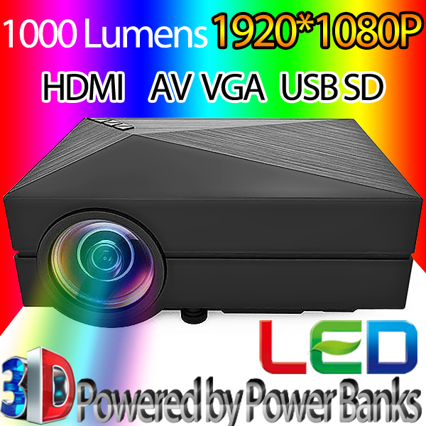 portable GM60 1000LM 3D LED Projectors1920 x 1080 AV USB2.0 HDMI VGA SD Mini Home Video Projector Proyector Screen TV Beamer(China (Mainland))