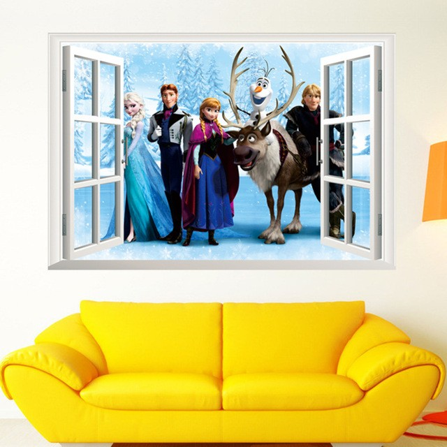 % Cartoon 3D Animation Snow Queen Windows Wall Stickers Elsa Snowman Snowflake Nursery Girls Room Home Decor Vinyl Wall Decal(China (Mainland))