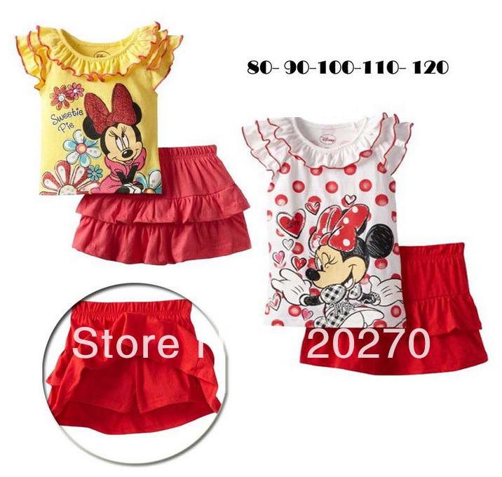Free Shipping Summer Baby Girls Cartoon Minnie Lace Pattern T-shirt Eulotte Pantskirt 2 Piece Set Infant Toddler Children's Suit(China (Mainland))