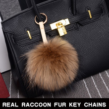 100% Real Raccoon Fur Pom Accessories Chain Mixed Colors Big Size Ball Bag Accessories Keychain Fur(China (Mainland))