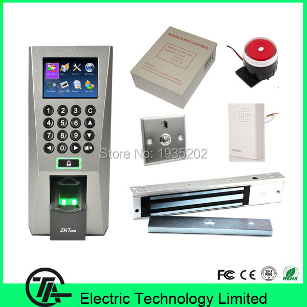 Biometric F18 Kit Fingerprint Access Control Time Attendance,12V5A Power Supply, EM Lock, Steel Switch, Wired Door Bell / Alarm(China (Mainland))