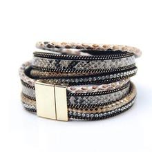 2015 Fashion 3 Layer Wrap Bracelets Leather Megnetic Bracelets With Crystals Couple Jewelry Christmas Gift(China (Mainland))