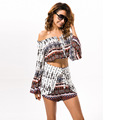 2017 Print Summer Rompers Brand New Off The Shoulder Womens Jumpsuits Slash Neck Loose Beach Rompers