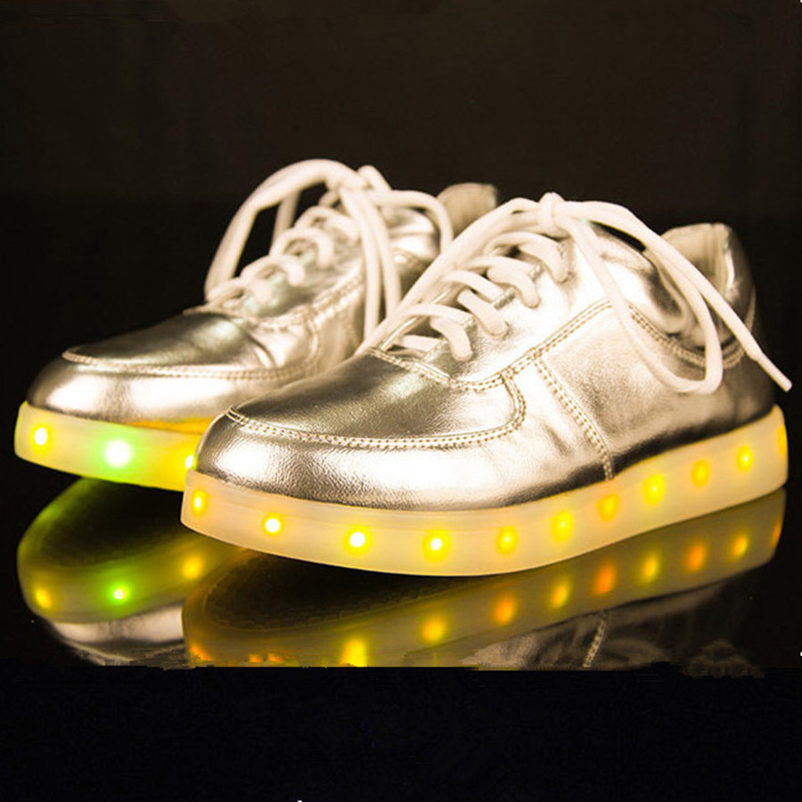 Фотография 2015 New Led Shoes For Adult Black Basket Led Light Shoes Chaussure Lumineuse Sliver Gold Women Light Up Shoes Mens size 12