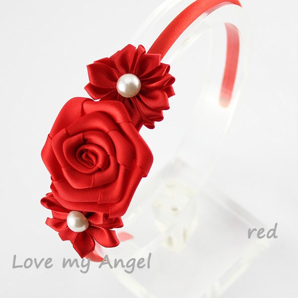 Free shipping Pearl center Triple red satin ribbon rose flower hairband Girl hair accessory Photography prop 120pcs/lot(China (Mainland))