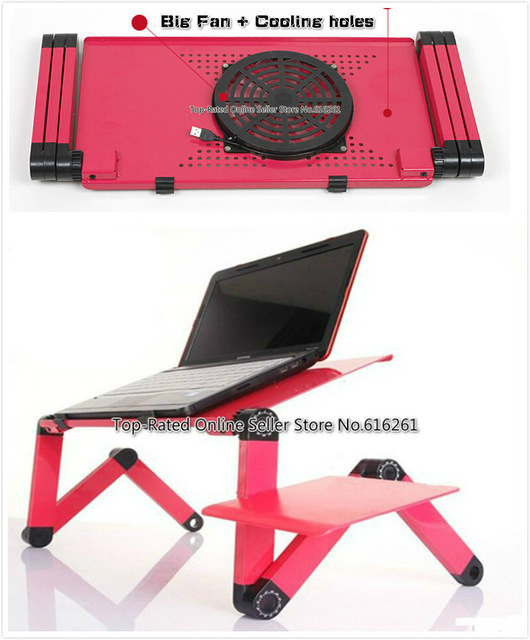 Ergonomic Laptop Cooling Table Stand For Bed Portable Sofa Laptop Table Foldable Notebook Desk Lapdesks With Mouse Pad + Big Fan(China (Mainland))