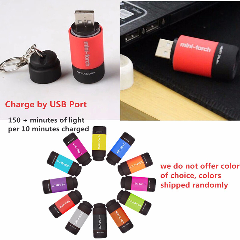 Mini Keychain Pocket Portable Torch USB Rechargeable LED Light Flashlight Lamp Multicolor Optional New Arrival(China (Mainland))