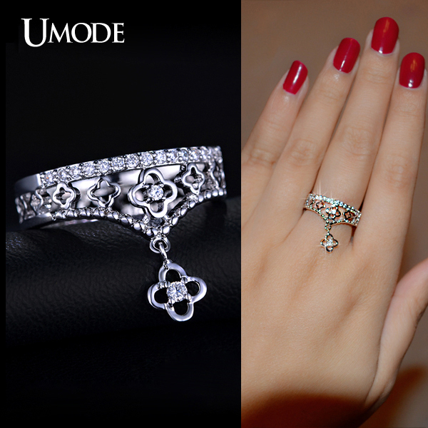 UMODE Selene Series Special CZ Crown With a Flower Charm Finger Ring White Gold Plated Jewelry For Women UR0154B(China (Mainland))