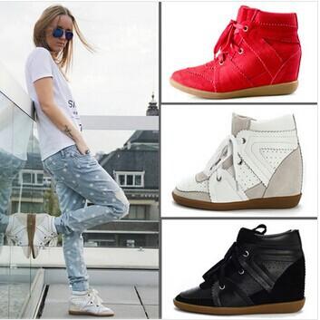 Isabel Marant Lace up Women Fashion Wedge High Heel Sneakers Hidden heel 7CM Genuine Leather suede